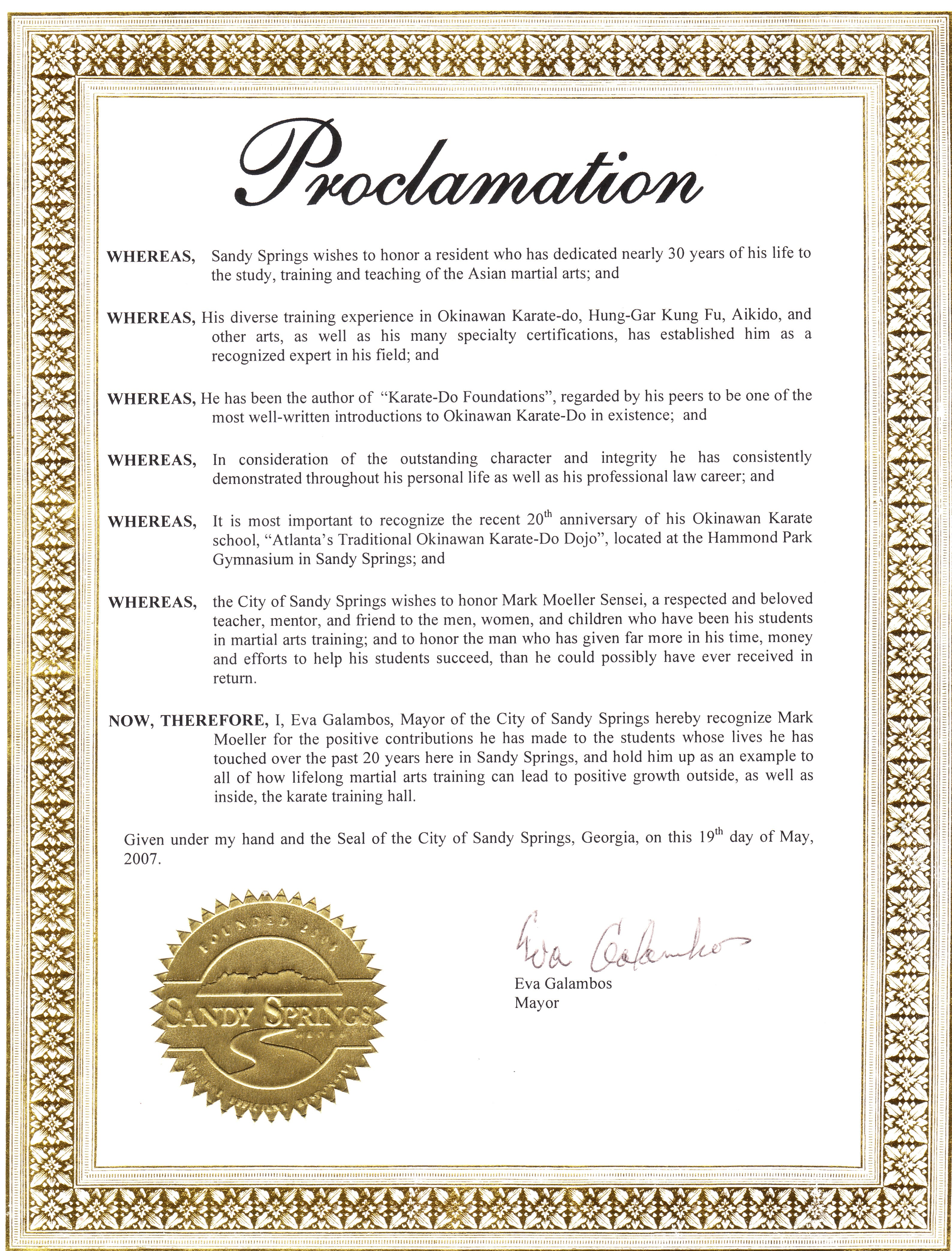 20th anniversary proclamation